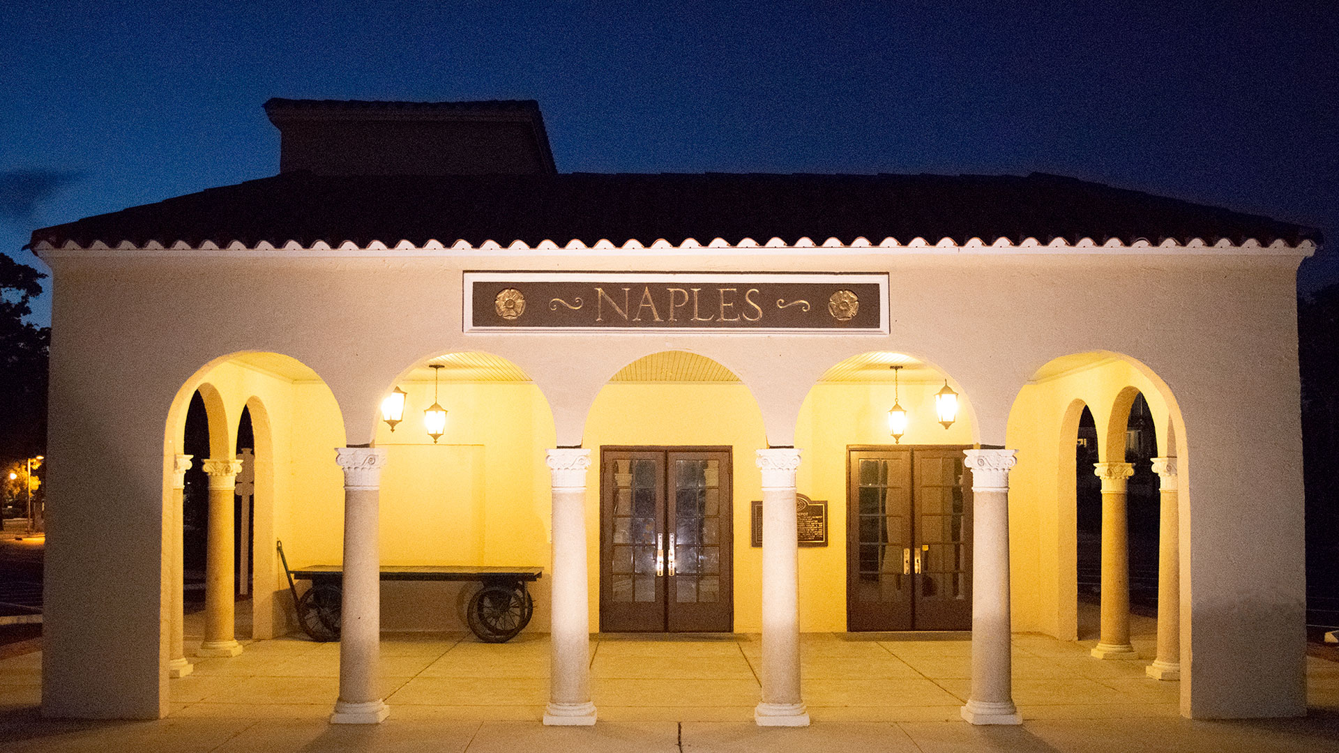 Naples Depot Museum at night