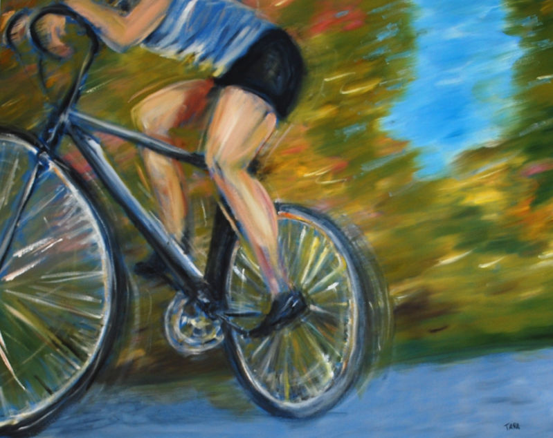 Painted image of bike rider in motion