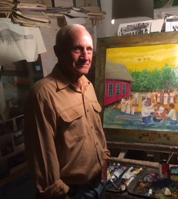 Artist Dick Jay in front of one of his painting