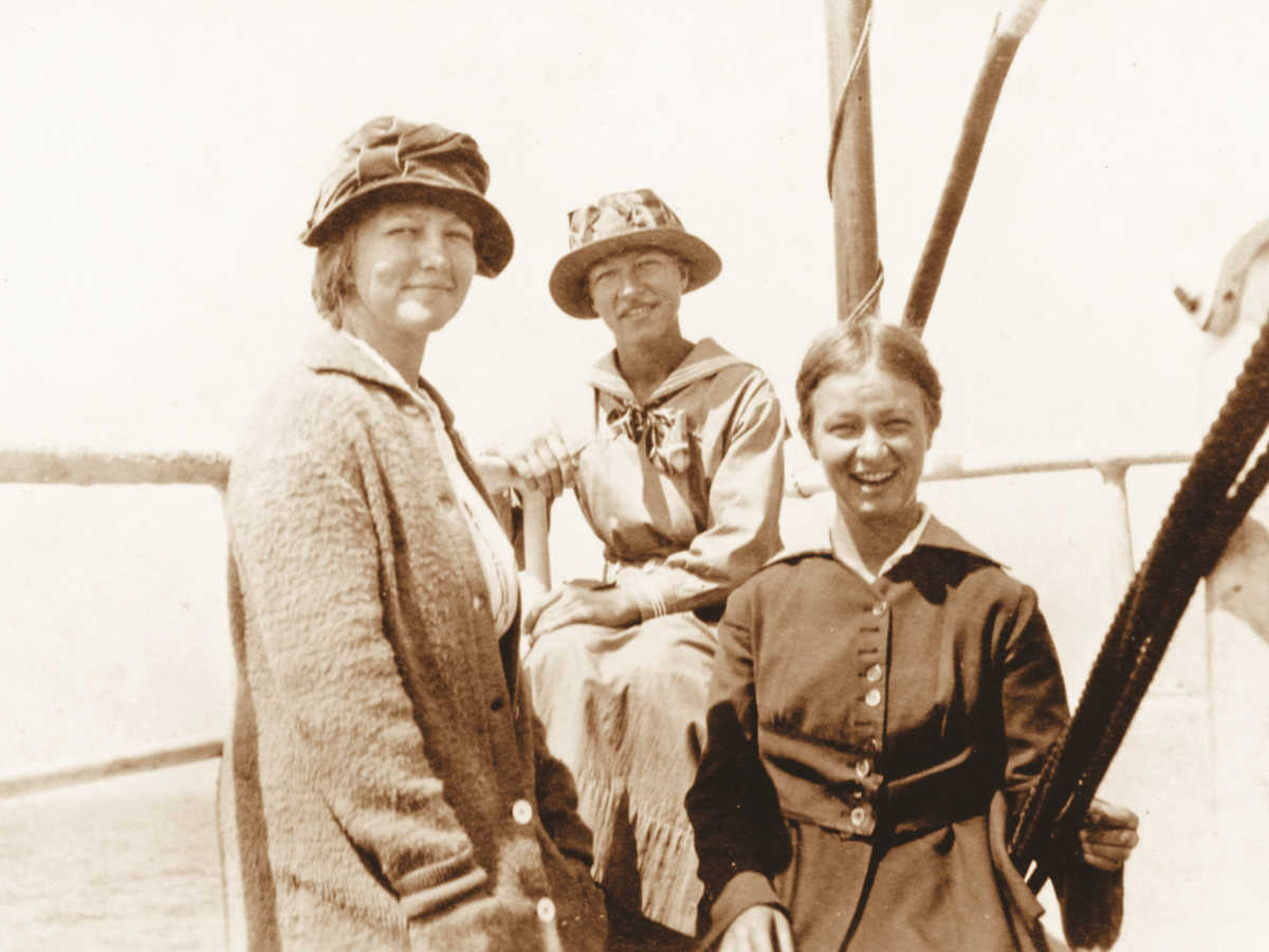 Historic photo of three women on a boat