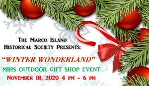 Banner with candy cane and winter greenery for Winter Wonderland MIHS Outdoor Gift Shop Event November 18, 2020 4pm-6pm