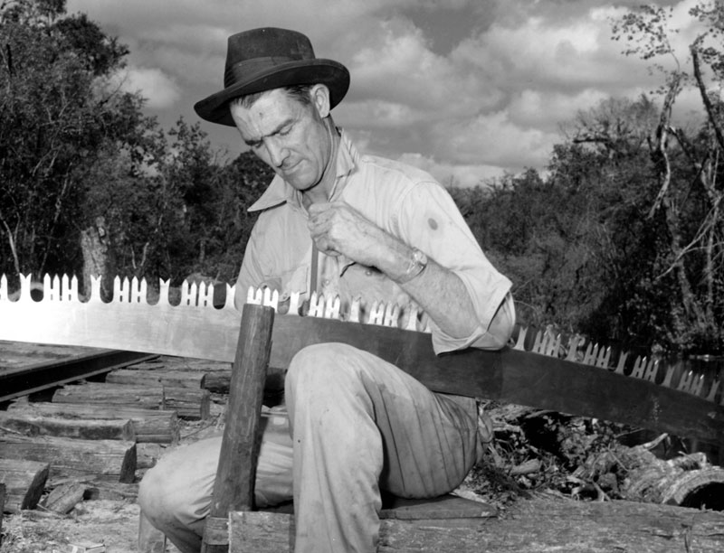 Photo of man sharpening a saw