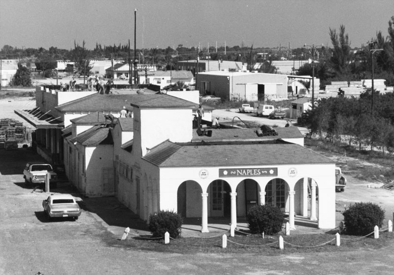Historic photo of the Naples Depot getting a new roof