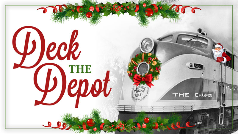 Deck the Depot logo with Santa riding a train engine