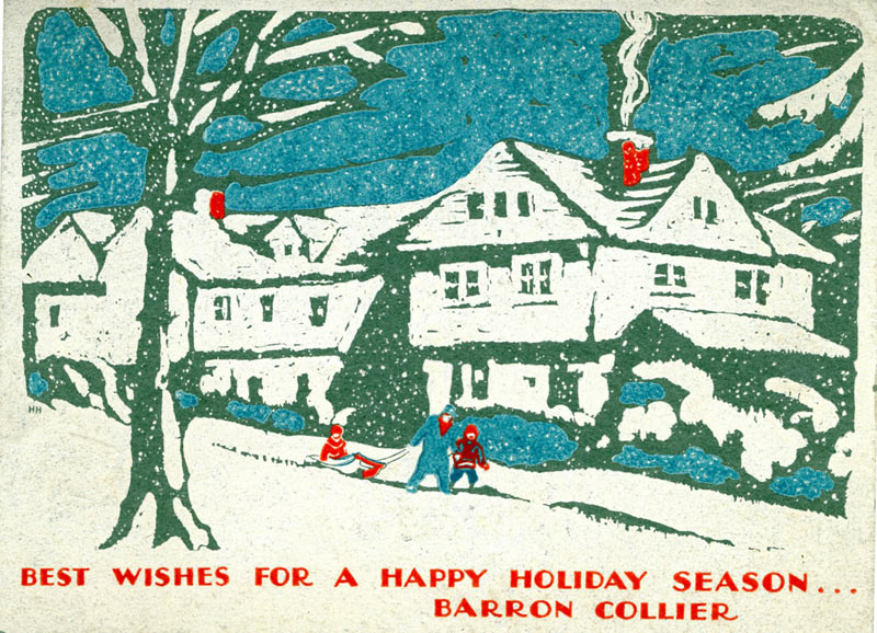 Image of a 1930s Christmas Card that says Best Wishes for a Happy Holiday Season Barron Collier