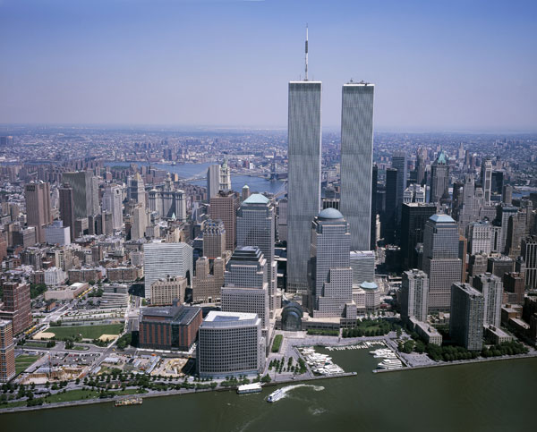 Aerial photo of the World Trade Center in New York