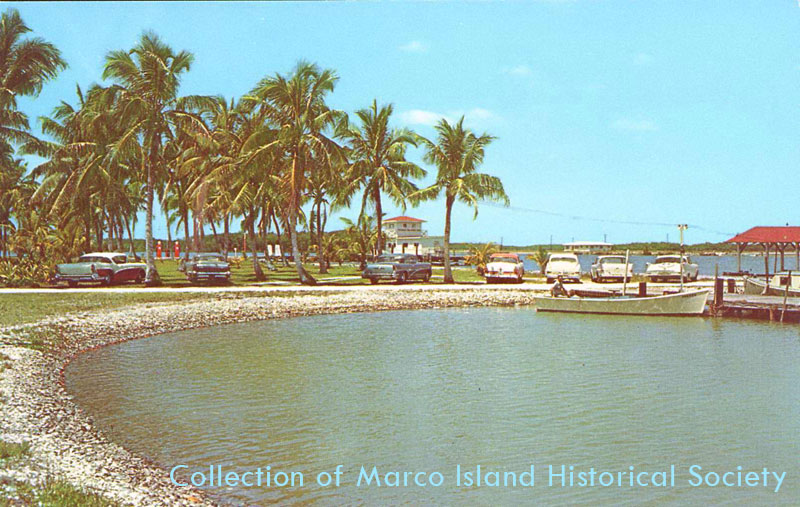 Postcard image of a beach on Marco Island from around 1960