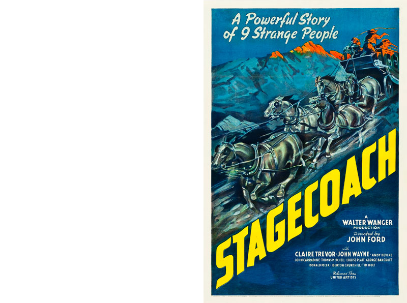 Movie Poster for Stagecoach movie with a speeding stagecoach across the middle